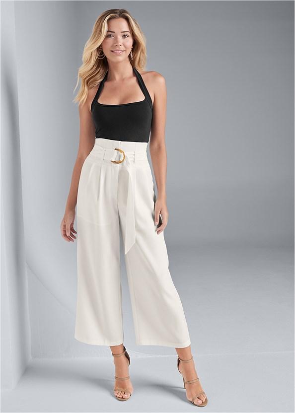 Belted High Waist Culotte Length Pants,Easy Halter Top,High Heel Strappy Sandals,Beaded Hoop Earrings