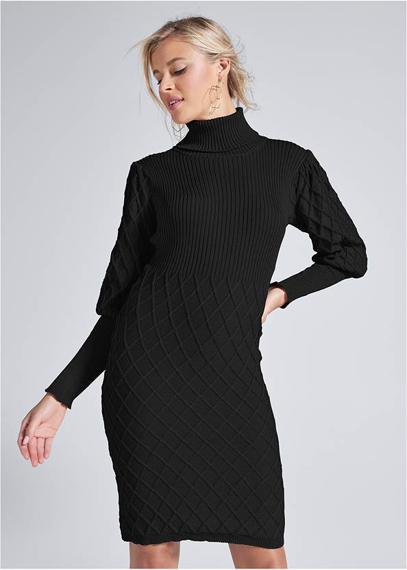 Front View Puff Detail Sweater Dress