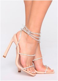 Alternate View Rhinestone Ankle Wrap Heels