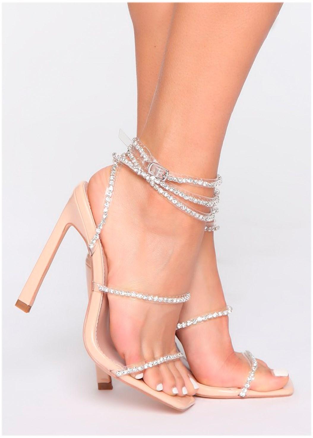 Rhinestone Ankle Wrap Heel
