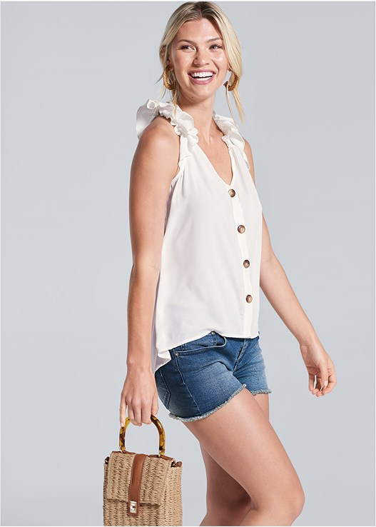 BUTTON DETAIL TOP,CUT OFF JEAN SHORTS,NAKED T-SHIRT BRA,METALLIC STRIPE WEDGES,RAFFIA HOOP EARRINGS,WICKER STRAW BAG