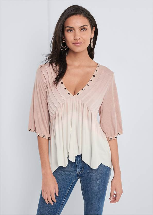 Cropped front view Pleated Ombre Grommet Top