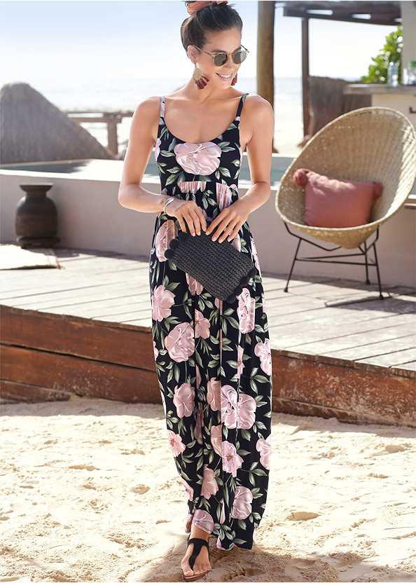 Floral Printed Maxi Dress,Beaded Rope Earrings