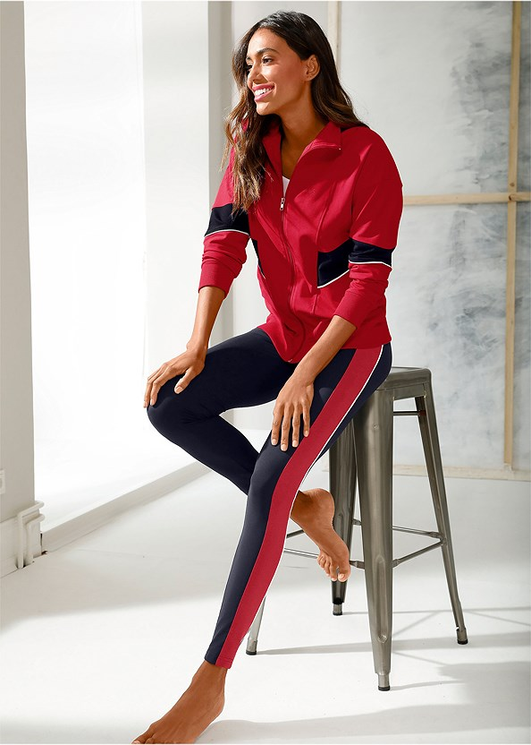 Striped Lounge Legging,Performance Color Block Jacket,Lace Up Star Sneakers