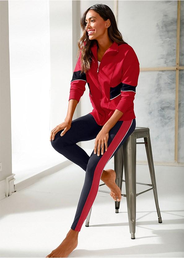Striped Lounge Legging,Performance Color Block Jacket