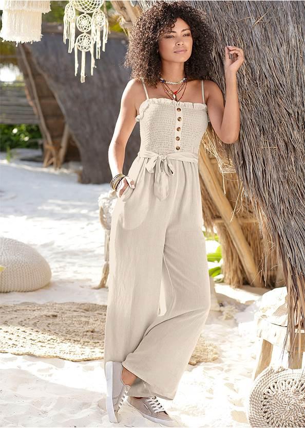 Smocked Detail Linen Jumpsuit,Feather Charm Thong Sandals,Tie Dye Tassel Earrings,Shell Detail Clutch