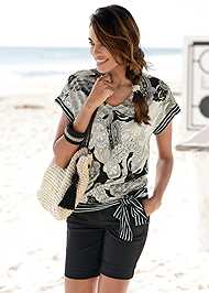 Cropped  view Side Tie Paisley Top