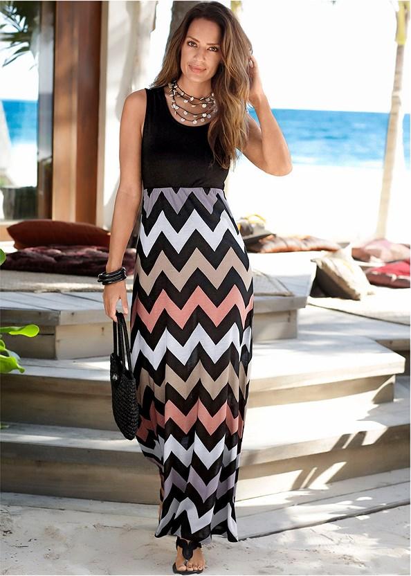 Chevron Printed Maxi Dress,Strapless Bra,Rhinestone Thong Sandal,Tassel Hoop Earring
