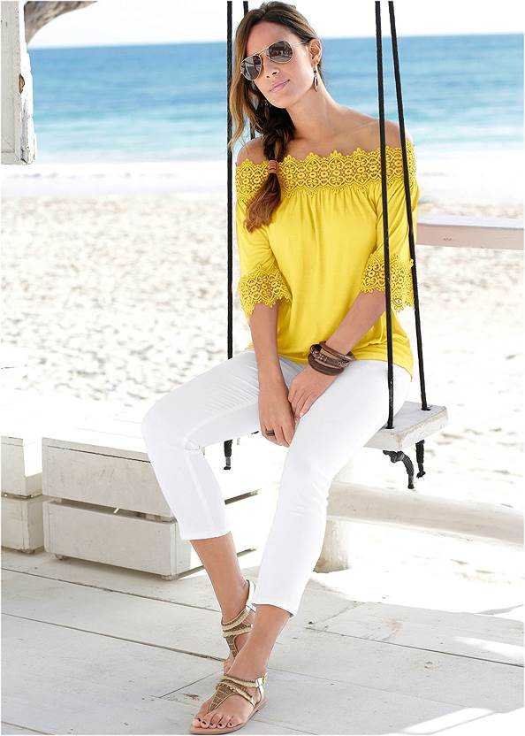 Crochet Trim Off Shoulder Top,Color Capri Jeans,Lucite Ankle Wrap Wedge
