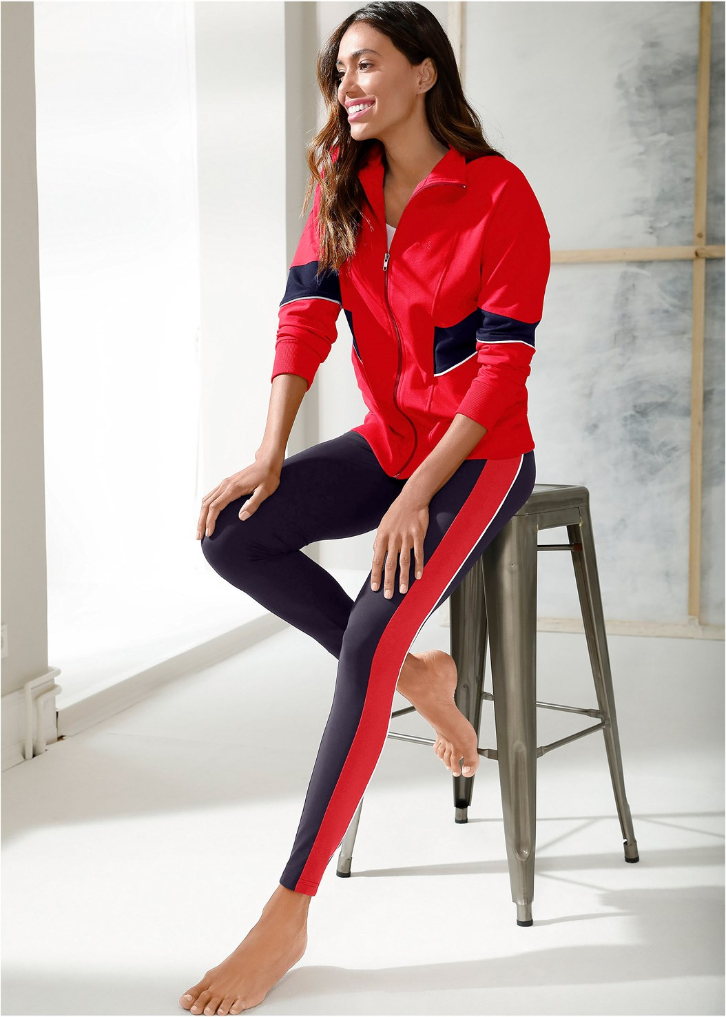 Performance Color Block Jacket,Striped Lounge Legging,Lace Up Star Sneakers