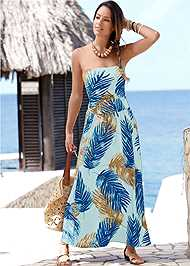 Front View Strapless Maxi Dress