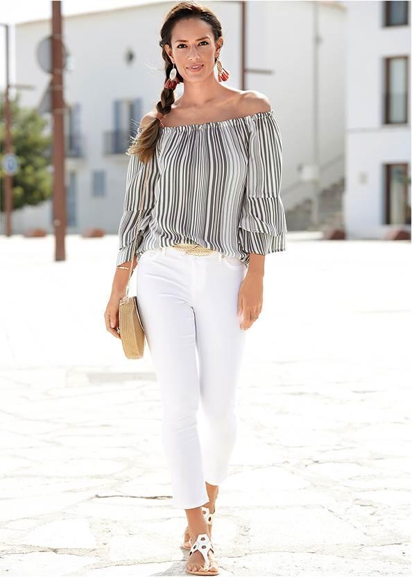Off-Shoulder Striped Top,Triangle Hem Jeans