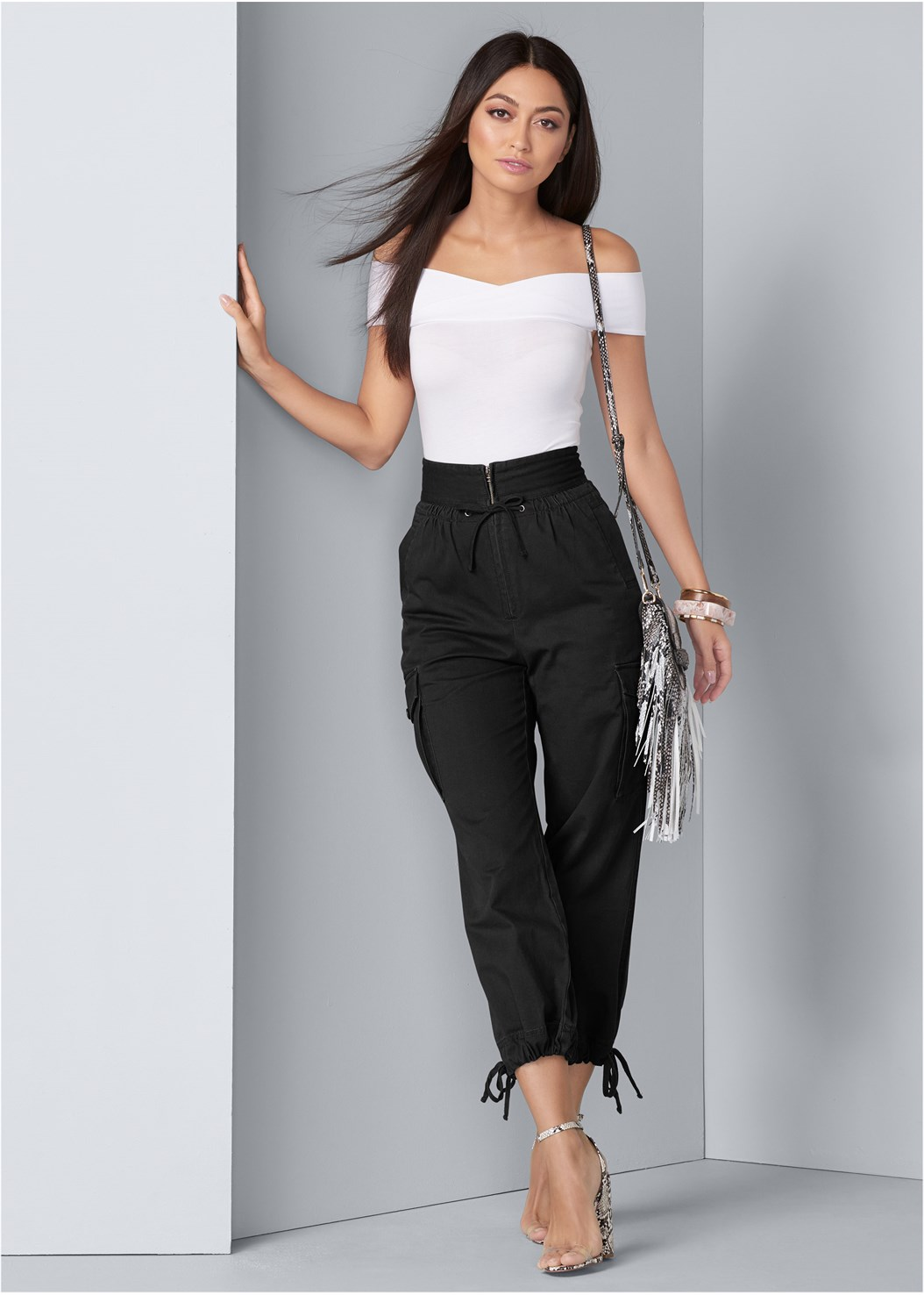 High Waisted Cargo Pants,Off The Shoulder Bodysuit,Smocked Floral Print Blouse,Lucite Detail Print Heels,Fringe Crossbody