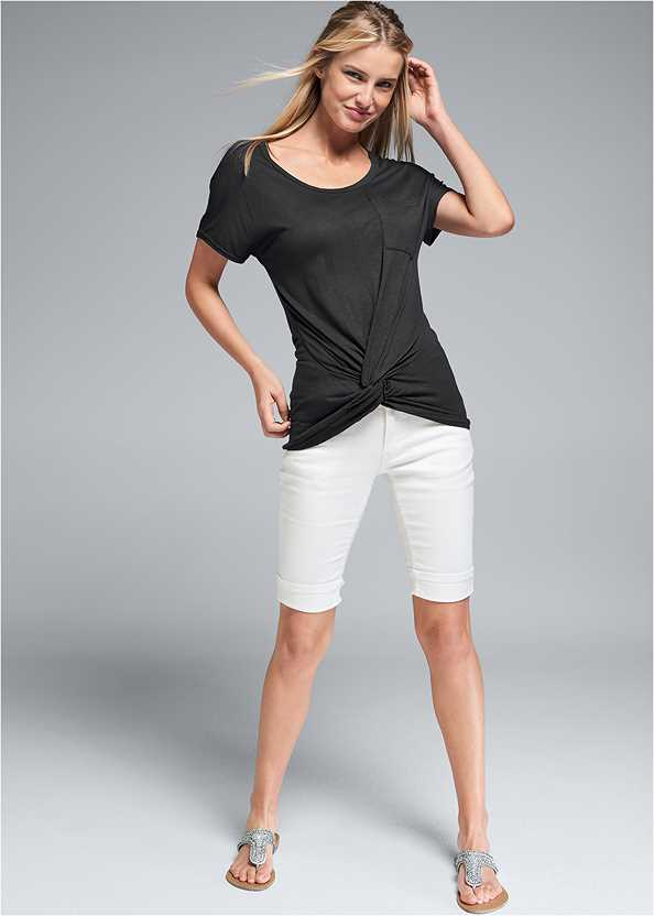 Twisted Knot Detail Tee,Mid Rise Color Skinny Jeans,Long Jean Shorts,Pearl™ By Venus Strappy Plunge Bra