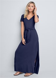 Front View Tie Front V-Neck Maxi Dress
