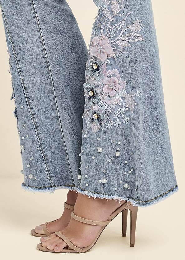 Alternate View Floral Applique Wide Leg Jeans