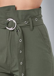 Detail front view Belted High Waist Utility Pants