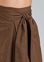 Detail front view Wrap Front Wide Leg Linen Pants