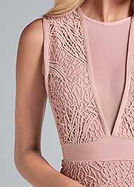 Detail front view Lace V-Neck Bandage Dress