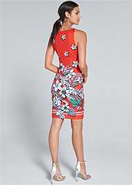 Full back view Floral Bodycon Dress