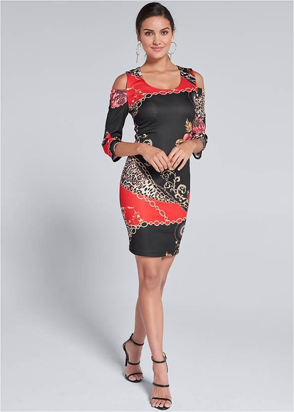 Full  view Cold Shoulder Printed Dress