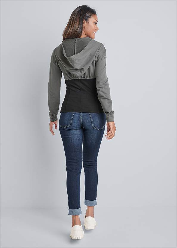 Back View Two Tone Zip Front Sweatshirt