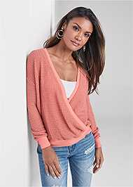 Front View Waffle Knit Surplice Lounge Top
