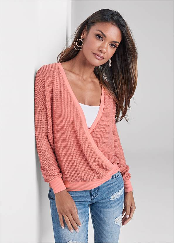 Waffle Knit Surplice Lounge Top,Basic Cami Two Pack,Triangle Hem Jeans,Rhinestone Thong Sandals