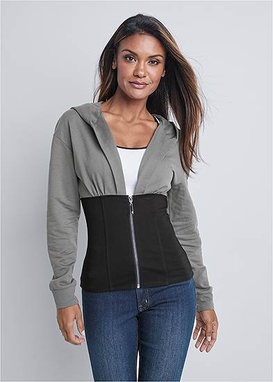Two Tone Zip Front Sweatshirt