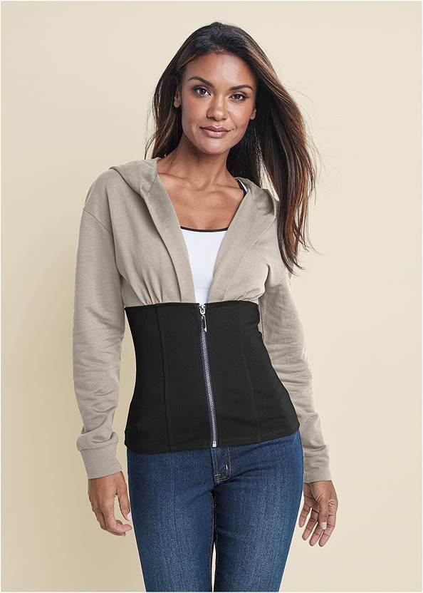 Two Tone Zip Front Sweatshirt,Mid Rise Color Skinny Jeans,Tassel Hoop Earrings,Tassel Detail Handbag