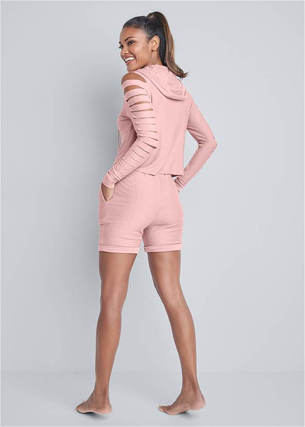 Full back view Cozy Cut Out Lounge Shorts Set
