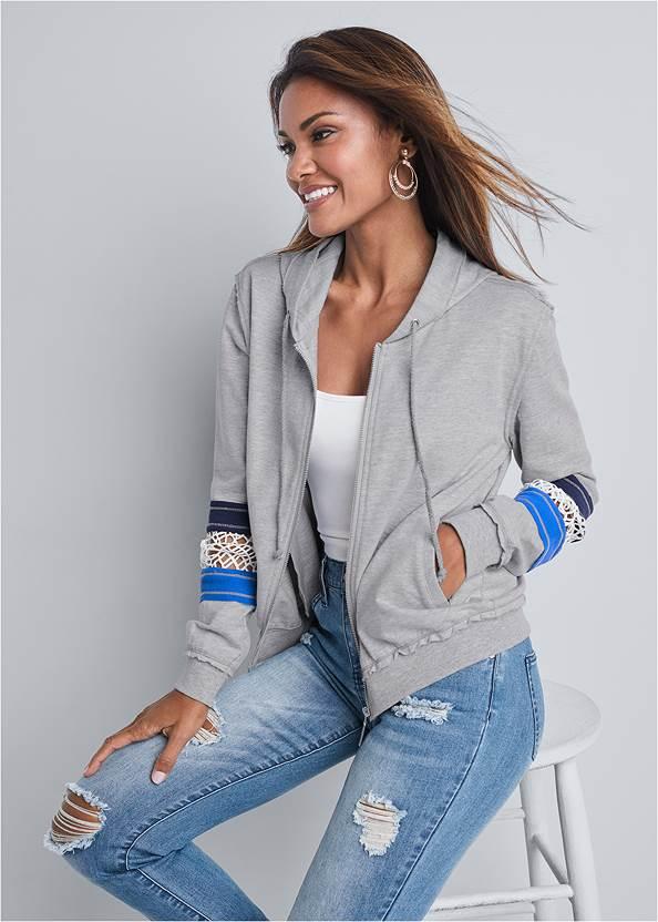 Crochet Trim Lounge Jacket,Basic Cami Two Pack,Triangle Hem Jeans,Rhinestone Thong Sandals,Square Hoop Earrings