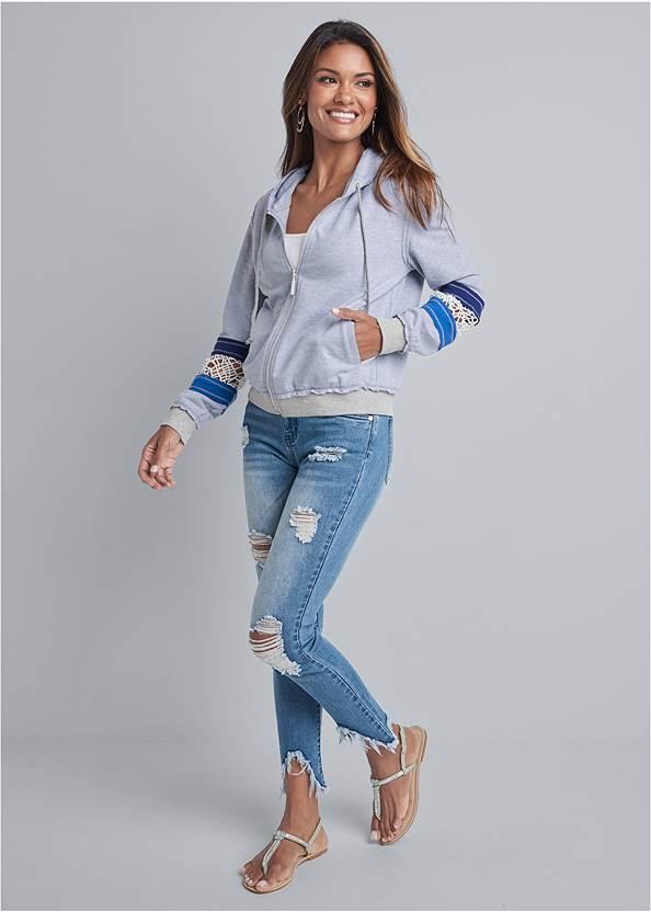 Alternate View Crochet Trim Lounge Jacket