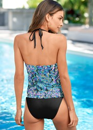 Back View Twist High Neck Tankini Top