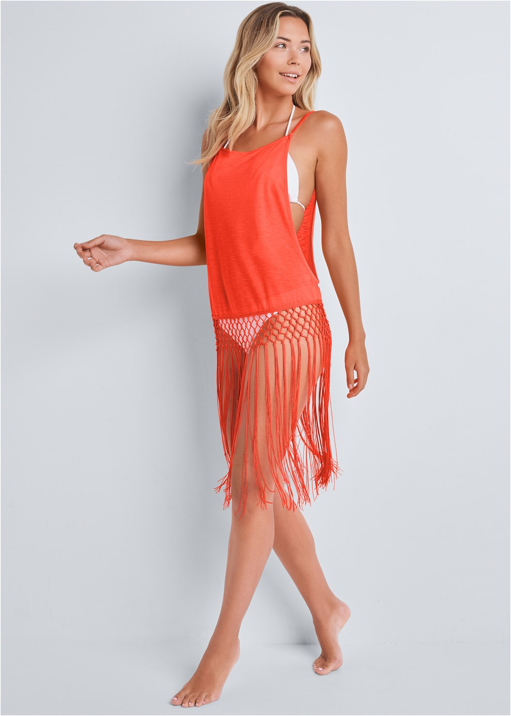 Fringe Tunic Cover-Up,Triangle String Bikini Top,Scoop Front Classic Bikini Bottom ,Embellished Slides
