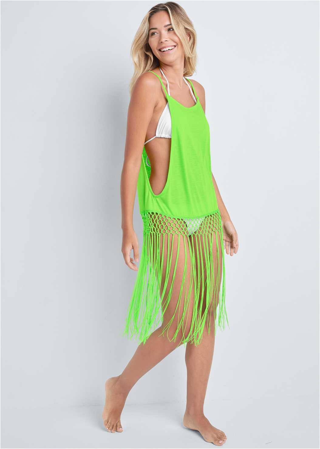 Fringe Tunic Cover-Up,Triangle String Bikini Top,Scoop Front Classic Bikini Bottom ,Embellished Slides