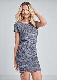 Cropped front view Cozy Drawstring Tie Lounge Dress
