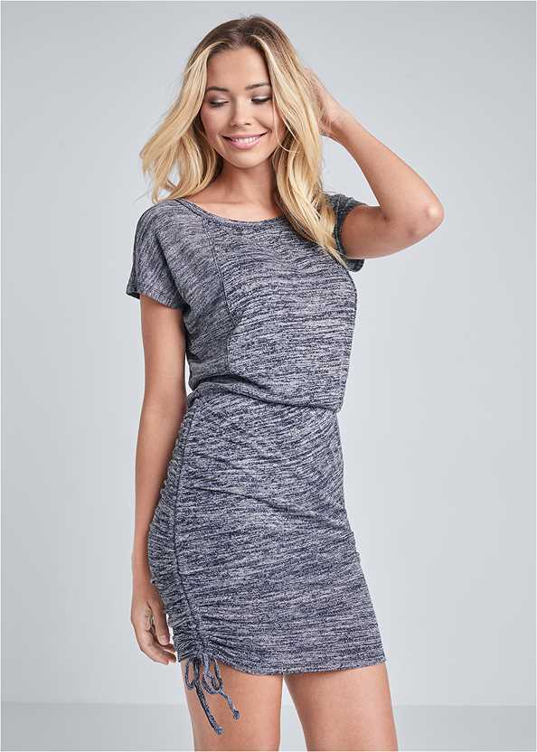 Cozy Drawstring Tie Lounge Dress,Straw Belt Bag