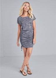 Full front view Cozy Drawstring Tie Lounge Dress