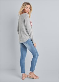 Back View Cozy Sequin Stripe Lounge Top