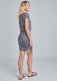 Full back view Cozy Drawstring Tie Lounge Dress