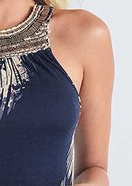 Detail front view Palm Print Sleeveless Top