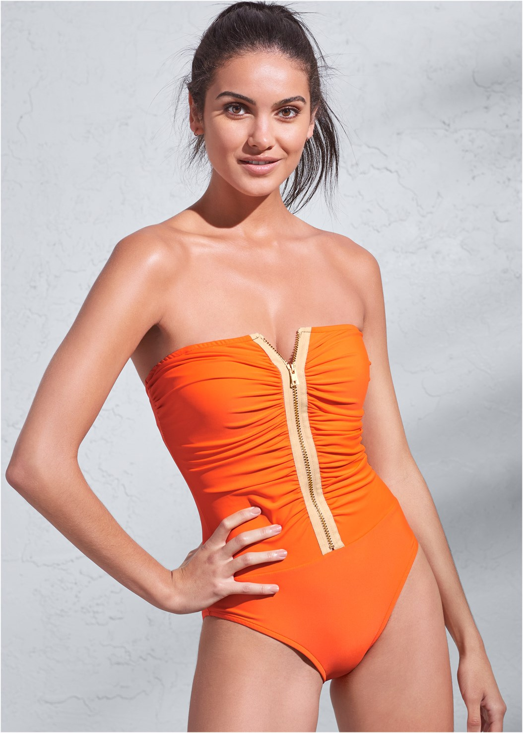 Sports Illustrated Swim™ Ruched Zipper Bandeau One-Piece