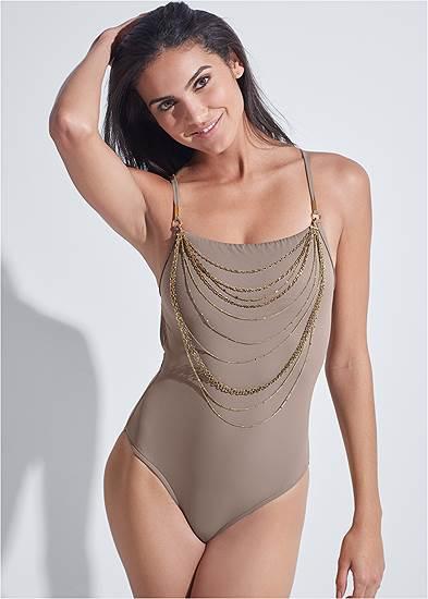 Plus Size Sports Illustrated Swim™ Necklace One-Piece