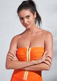 Alternate View Sports Illustrated Swim™ Ruched Zipper Bandeau One-Piece