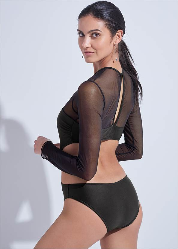 Cropped back view Sports Illustrated Swim™ Mesh Long Sleeve One-Piece