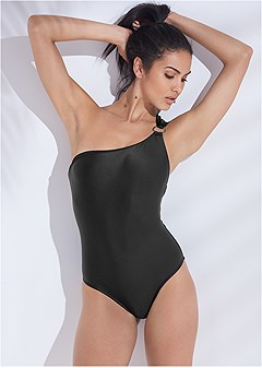 plus size sports illustrated swim™ asymmetrical ring one-piece
