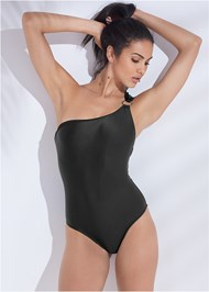 Front View Sports Illustrated Swim™ Asymmetrical Ring One-Piece