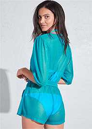 Cropped back view Sports Illustrated Swim™ Wrap Romper Cover-Up