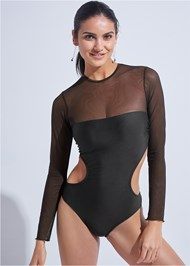 Cropped front view Sports Illustrated Swim™ Mesh Long Sleeve One-Piece